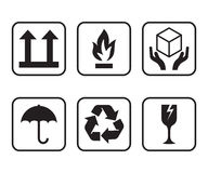Set of symbols for cardboard boxes. Stock Photos