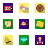 The set of symbols casino games. Gambling for money. Chips, dominoes, casino. Casino and gambling icon in set collection Royalty Free Stock Image