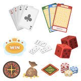 The set of symbols casino games. Gambling for money. Chips, dominoes, casino. Casino and gambling icon in set collection Stock Photo