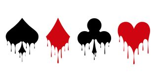 Set of symbols deck of cards. For playing poker and casino. Flowing liquid paint. Vector illustration royalty free illustration