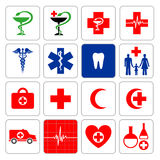 Set of symbols denoting medicine Stock Image