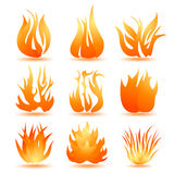 Set of symbols of fire. On white Royalty Free Stock Photography