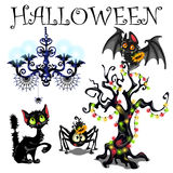 Set of symbols of Halloween on white background. Set of objects - symbols of Halloween on white background Stock Photos