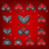 Set of symbols, Heart with lingerie Stock Photos