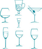 Set of symbols and icons glasses Stock Image