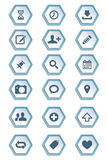 Set of symbols and icons on hexagon paper shapes Royalty Free Stock Photography