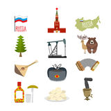 Set of symbols and icons for Russia: the Kremlin and balalaika, Stock Photography