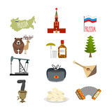 Set symbols and icons for Russia: Kremlin and balalaika, oil rig Royalty Free Stock Photos