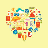 Set symbols and icons summer and  vacation on the beach vector i Stock Photography