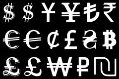 Set symbols of the leading world currencies vector illustration Stock Photography