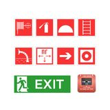 Set symbols, logos, icons, hose, ladder, emergency exit, alarm button. Fire extinguishing, smoke elimination, fire fighting equipment and signs. Set of symbols Stock Photos