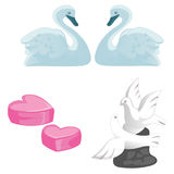 A set of symbols of love, marriage and honeymooners. A pair of swans, pigeons and hearts  on white background. Vector illu Stock Image