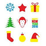 Set Symbols of new year. Christmas tree and monkey. Snowflake a. Nd star. Hat of Santa Claus and Christmas tree toy. happy new year 2016. Vector illustration Royalty Free Illustration