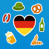 Set of symbols of Oktoberfest - traditional Royalty Free Stock Photos