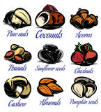 Set symbols patterns of different colored seeds, nuts, fruits Stock Images