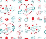 Vector picture heart, hands, rose, game cards, ring, balloon, candles, angel, lips stock illustration