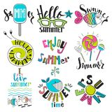 A set of symbols and summer icons. Rest, travel and inscriptions Stock Photography