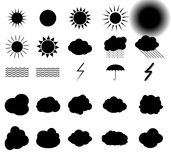 Set of symbols: Sun, Clouds, Thunderstorm, Umbrella. Vector Illu Stock Photography