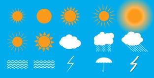 Set of symbols: Sun, Clouds, Thunderstorm, Umbrella. Vector Illu Stock Images