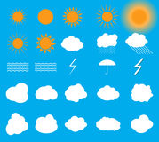 Set of symbols: Sun, Clouds, Thunderstorm, Umbrella. Vector Illu Royalty Free Stock Photography