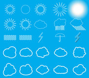 Set of symbols: Sun, Clouds, Thunderstorm, Umbrella. Vector Illu Royalty Free Stock Photo