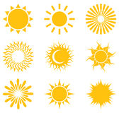 Set of symbols of the sun. Royalty Free Stock Photo