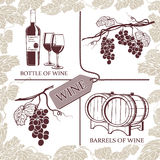 Set symbols on the theme of grapes, red wine and winemaking Stock Photos