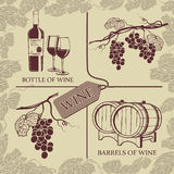 Set symbols on the theme of grapes, and wine. Set symbols on the theme of grapes, red wine and winemaking Royalty Free Stock Photography