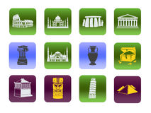 Set of symbols of world heritage in history and architecture. Icons stock illustration