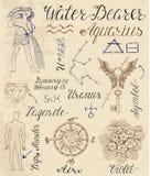 Set of symbols for zodiac sign Aquarius or Water Bearer Stock Images