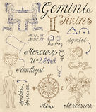 Set of symbols for zodiac sign Gemini or Twins Royalty Free Stock Image