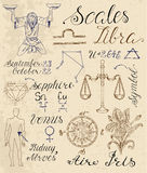 Set of symbols for zodiac sign Libra or Scales Royalty Free Stock Photography