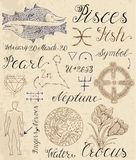 Set of symbols for zodiac sign Pisces or Fish. Collection of hand drawn symbols for astrological zodiac sign Pisces or Fish. Line art vector illustration of Stock Photo