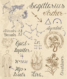 Set of symbols for zodiac sign Sagittarius or Archer Royalty Free Stock Image