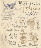Set of symbols for zodiac sign Virgin or Virgo. Collection of hand drawn symbols for astrological zodiac sign Virgin or Virgo. Line art vector illustration of Royalty Free Stock Photos