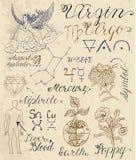Set of symbols for zodiac sign Virgin or Virgo Royalty Free Stock Photos