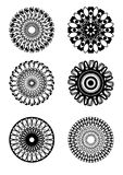 Set of symmetric circle patterns in black and white design Stock Image