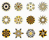 Set of symmetric geometric shapes. Abstract symmetric geometric center shapes. Yellow and black colors. Vector symbols for your design. Design elements. Vector Royalty Free Stock Photos