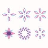 Set of 6 symmetric geometric shapes. Royalty Free Stock Image