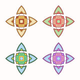 Set of 4 symmetric geometric shapes. Abstract symbols. Vector elements Royalty Free Stock Images