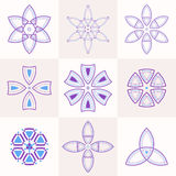 Set of 9 symmetric geometric shapes. Abstract symbols. Vector elements Royalty Free Stock Image