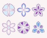 Set of 6 symmetric geometric shapes. Set of 9 symmetric geometric shapes. Abstract vector symbols Stock Photos