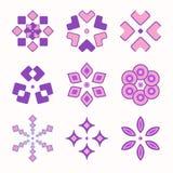 Set of 9 symmetric geometric shapes. Abstract vector symbols Stock Image