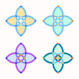 Set of 4 symmetric geometric shapes. Set of 4 symmetric geometric four petals shapes. Abstract vector symbols Royalty Free Stock Photos