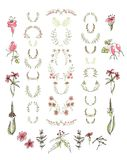 Set of symmetrical floral graphic design elements. Royalty Free Stock Image
