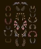 Set of symmetrical floral graphic design elements Stock Photo
