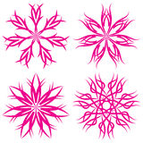 Set of symmetrical patterns. Snowflakes or flowers Stock Photo
