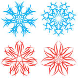 Set of symmetrical patterns. Snowflakes or flowers Royalty Free Stock Image