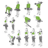 Set of systematic bodybuilding exercises Stock Photos
