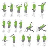 Set systematyczni bodybuilding ćwiczenia Obrazy Stock